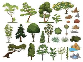 ensemble d'arbustes d'arbres collection d'éléments de conception de paysage vecteur