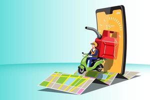grandes icônes colorées vectorielles de motos isolées, illustrations plates de livraison par motos via l'emplacement de suivi gps. vélo de livraison, carburants, essence, livraison d'essence, livraison instantanée, livraison en ligne. vecteur