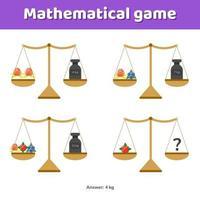 illustration vectorielle. jeu de maths pour les enfants de l'école et du préscolaire vecteur