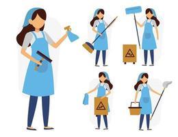ensemble de femme de ménage ou femme de ménage dans le vecteur de personnages de dessins animés
