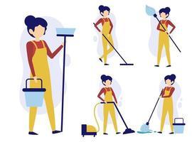 ensemble de femme de chambre ou de femme de ménage dans des personnages de dessins animés vecteur d'actions différentes