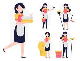 ensemble de femme de chambre ou femme de ménage dans le vecteur de personnage de dessin animé