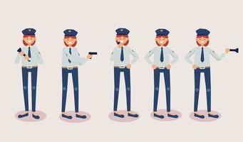 ensemble d'homme de police dans le vecteur d'actions différentes de personnages de dessins animés
