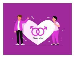 couple de lesbiennes. portrait de jeunes hommes adorables. partenaires romantiques homosexuels. concept d'amour, de passion et d'homosexualité. illustration vectorielle moderne plat coloré. vecteur