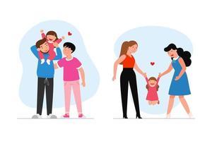 famille lesbienne heureuse avec enfant. couple gay et un couple leasbian avec un bébé.femme et femme ensemble. mari et mari ensemble. vecteur