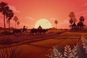 scène de la nature des terres rurales agriculture prairie vecteur