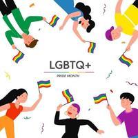 illustration vectorielle de lgbt pride mois concept. dessin animé plat lesbienne gay bisexuel transgenre groupe de caractères queer tenant un drapeau arc-en-ciel sur la discrimination sexuelle protestation lgbt parade isolé sur fond blanc vecteur