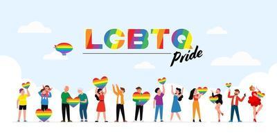 les gens détiennent un drapeau arc-en-ciel lgbt et transgenre pendant la célébration du mois de la fierté contre la violence, la discrimination et la violation des droits de l'homme. l'égalité et l'affirmation de soi. vecteur