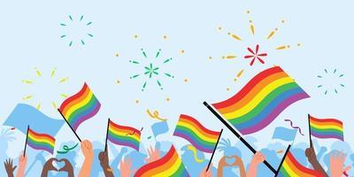 les gens du jour de la fierté. drapeau du jour de la fierté. LGBT. foule de personnes avec des drapeaux arc-en-ciel et des symboles lors du défilé de la fierté vecteur