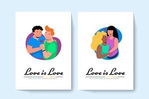 deux couples gay lgbt et un couple lesbien s'embrassent. illustration vectorielle dans un style plat. vecteur