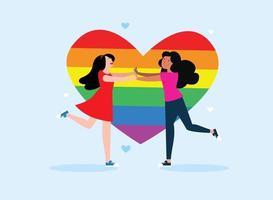 couple de lesbiennes aimant courir l'un vers l'autre sur le fond du coeur lgbt, autocollant d'illustration vectorielle à plat vecteur