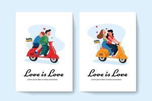 deux couples gays lgbt et un couple lesbien à cheval sur un scooter. illustration vectorielle dans un style plat. vecteur