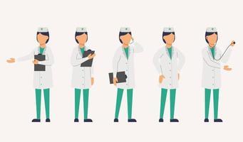 ensemble de personnel médical en uniforme en vecteur plat de personnage de dessin animé