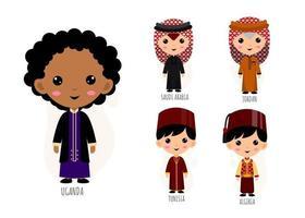 ensemble d'hommes dans des personnages de dessins animés de vêtements traditionnels d'asie occidentale vecteur