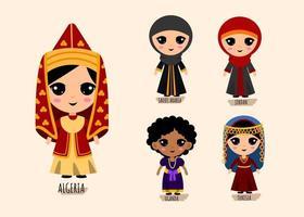 ensemble de femme dans les personnages de dessins animés traditionnels de vêtements d'asie occidentale vecteur