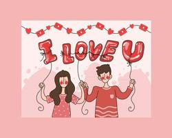 carte de la saint-valentin, couple hodign je t'aime ballon qui fleurit dans les mains- salutation mignonne pour la célébration de l'amour et de la romance vecteur