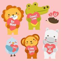 grand vecteur serti d'animaux en style cartoon avec signe d'amour. collection de vecteurs pour la célébration de la Saint-Valentin.