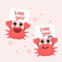 personnage de crabe souriant avec de grosses griffes sur rose avec invitation de bannière d'amour pour célébrer une fête. vecteur