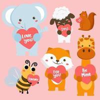 grand vecteur isolé serti d'animaux en style cartoon avec signe d'amour. collection de vecteurs pour la célébration de la Saint-Valentin. éléphant, singe, abeille, chat etc.