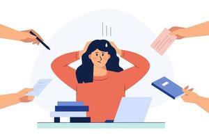 une femme d'affaires tient ses cheveux sous tension pendant le travail. illustrations de conception de vecteur de style dessinés à la main.
