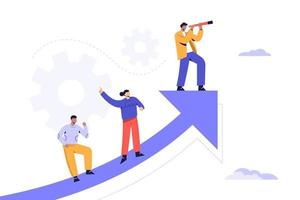 concept d'entreprise illustration vectorielle d'un homme d'affaires qui court avec une charte graphique accrue pour voir l'avenir de l'imagination. vecteur