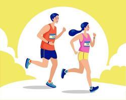 couple en cours d'exécution, concept soucieux de leur santé. femme sportive et homme jogging. illustration de coureurs vecteur