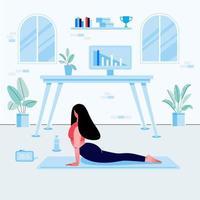 jeune femme faisant des exercices de yoga sur le lieu de travail à domicile. fond intérieur de chambre confortable avec ordinateur portable, plantes, photos, table et chaise. illustration vectorielle plane. vecteur