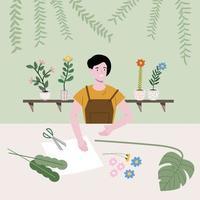 la fille fabrique de beaux produits pour la maison avec différents types d'arbres, de papier et d'éléments. illustration vectorielle plane. travaux de ménage et bannière d'activité humaine. vecteur