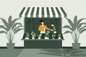 un vendeur est assis dans le magasin vendant différentes variétés d'arbres. illustration vectorielle plane. travaux de ménage et bannière d'activité humaine. vecteur