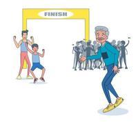 un homme âgé énergique qui court le marathon. vecteur d'illustration avec un fond blanc