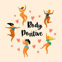 Corps positif. Les filles de taille plus heureux dansent. vecteur