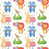 joyeux anniversaire modèle sans couture animaux mignons célébrant ensemble lapin rhinocéros serpent lion vacances décoration présente gâteau ballons illustration vectorielle pour enfants isolés sur fond vecteur