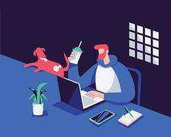 travail à domicile illustration concept vecteur, homme utilisant un ordinateur portable vecteur
