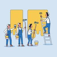 un entrepreneur pour peindre le bâtiment, lui et son équipe de peintres utilisent un pinceau pour peindre vecteur