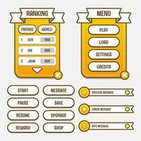 kit d'interface graphique de modèle de jeu vectoriel. interface utilisateur graphique de jeu pour créer des jeux et des applications Web et mobiles. vecteur