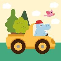 l'hippopotame mâle est un vendeur d'arbres. vecteur