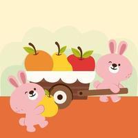 la famille des lapins est marchande de fruits. vecteur