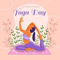 une femme pose pour le yoga dans une cabane ombragée chez elle. vecteur