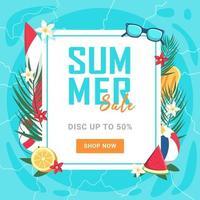 il y a une bannière de vente d'été à 50 pour cent de réduction. illustration vectorielle vecteur