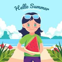 une femme en vacances vient à la plage pour nager et elle porte des pastèques à manger vecteur