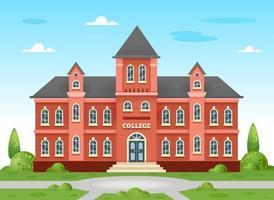 bâtiment du collège. bâtiment académique, université de style anglais traditionnel avec des arbres et une pelouse verte et une aire de jeux. illustration vectorielle sur fond blanc. vecteur