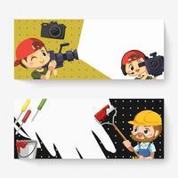 bannière d'homme de travail avec personnage de dessin animé de vidéaste et de peintre vecteur