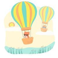 renard et pingouin dans un panier de ballons sur le vecteur de dessin animé du ciel