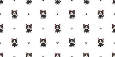 vecteur, dessin animé, caractère, chat noir, seamless, fond vecteur
