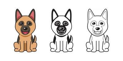 jeu de dessin animé de vecteur de chien de berger allemand