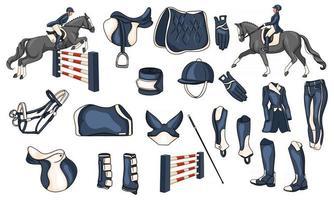 grand ensemble d'équipements pour le cavalier et de munitions pour le cavalier à cheval illustration en style cartoon vecteur