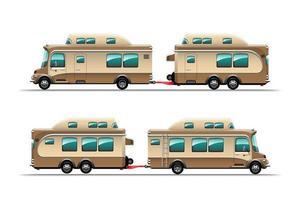 vue latérale d'une remorque de camping en vecteur de style dessin animé