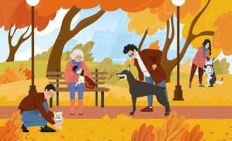zone de promenade pour chiens. les gens se détendent dans le parc en automne avec leurs animaux de compagnie. illustration vectorielle plane vecteur