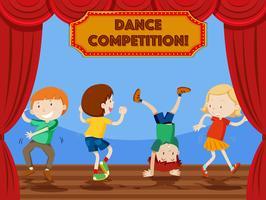 Scène de compétition de danse pour enfants