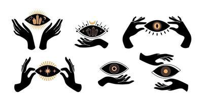 boho black mains silhouettes icônes ésotériques avec symboles spirituels croissant de lune, étoile, oeil, soleil. concept mystique féminin noir. illustration vectorielle à plat. conception d'impressions de t-shirts, d'affiches, de tatouages vecteur